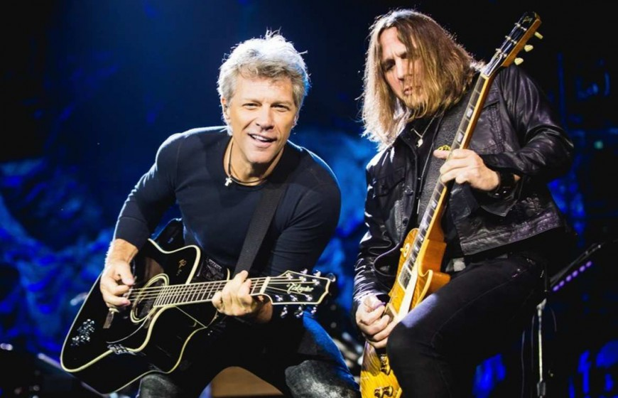 Jon Bon Jovi of American rock band Bon Jovi, front, performs during their concert in Macao, China, 25 September 2015.